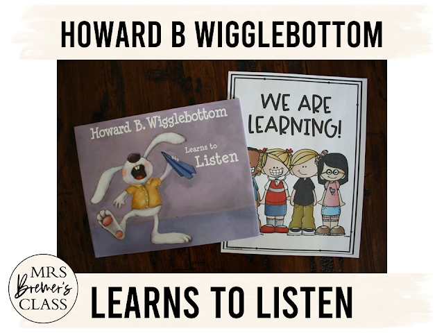 This pack of literacy activities goes with the book Howard B Wigglebottom Learns to Listen. The unit is packed with engaging and standards based book study activities, craftivity, and class book that focuses on listening and self regulation. It's a great springboard for students to make text-to-self connections, and the realization that paying attention can keep you safe, out of trouble, and learning more! Perfect for the beginning of the school year! K-1st Grade