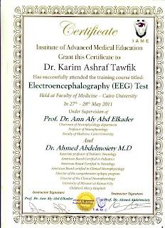 EEG and Neurology Certificate.