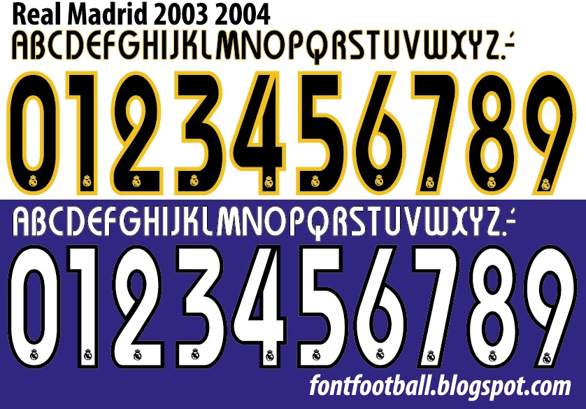 release date: 30706 f0a6b FONT FOOTBALL: Font Vector Real Madrid 2003 - 2004 kit