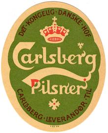 Logo da Carlsberg.  O mesmo criador do logo da cerveja Carlsberg criou o do KB de Copenhague