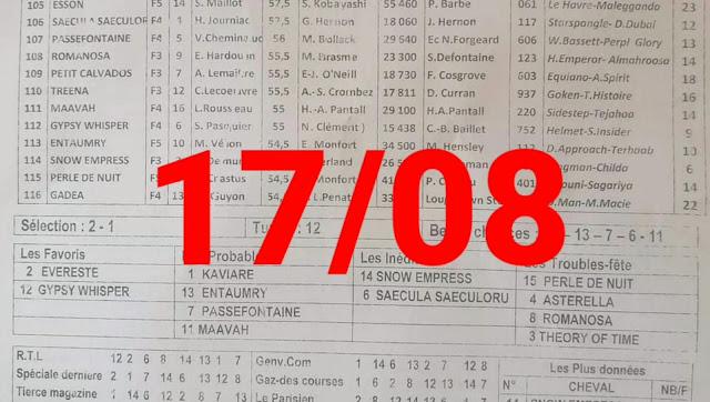 programme quinté Pronostic mardi 17/08/2021