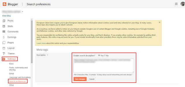 Apakah Fungsi Search Description Pada Blogger