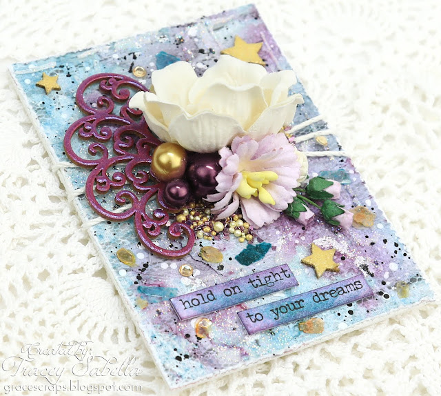 Shimmery Mixed Media ATC's with process VIDEO TUTORIAL by Tracey Sabella for Scrap & Craft: #artisttradingcard #artisttradingcards #mixedmedia #mixedmediacard #shabbychic #papercrafting #flowercard #chipboard #lindysgang #lindysstampgang #Finnabair #Primamarketing #wildorchidcrafts #helmar #usartquestprills #scrapiniec #timholtz #rangerink #artanthology #stampendous #glitter