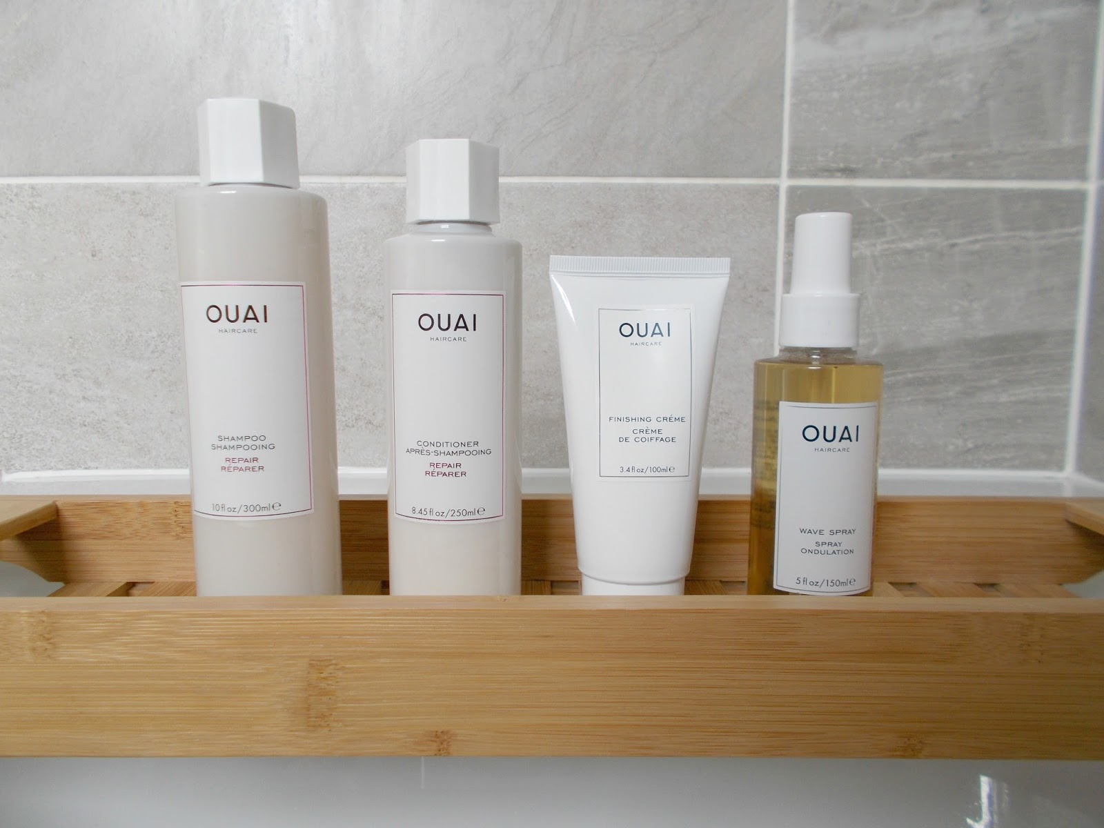 OUAI haircare review repair shampoo conditioner finishing creme wave spray