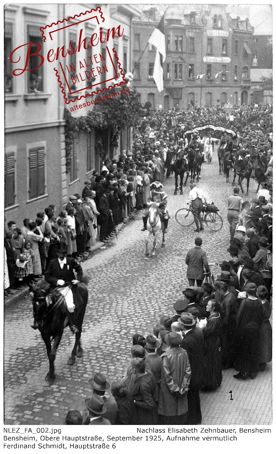 NLEZ_FA_002 Bensheim, Obere Hauptstraße, September 1925, Nachlass Elisabeth Zehnbauer, Stoll-Berberich 2016