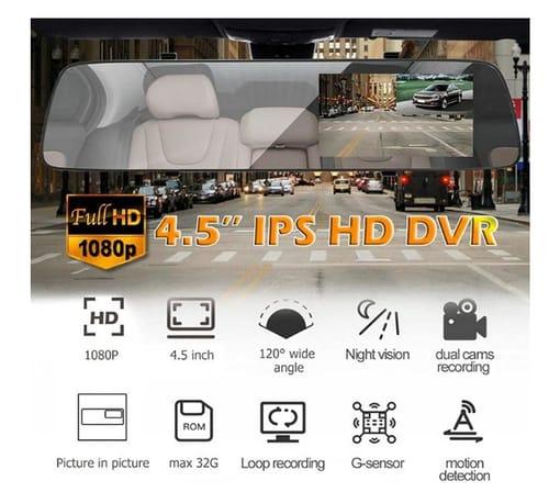 iSinofc 4.5Inch IPS Screen Dash Cam Rearview Mirror