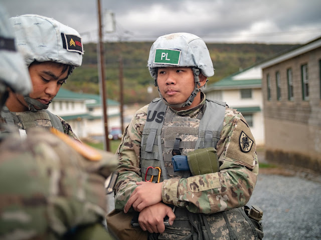 Eric Chen stands at the Bushmaster exercise.