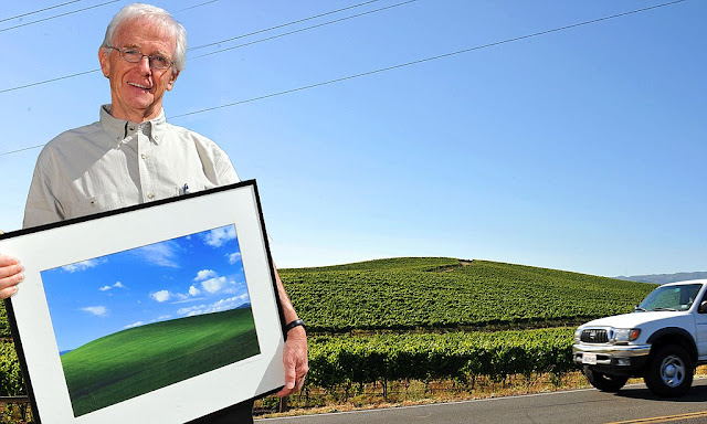 Charles O'Rear with world's most viewed photo, 'Bliss', made in Sonoma County, California, 1996