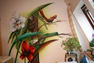 Lukis dinding burung dan pohon
