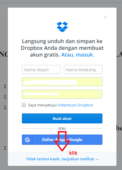 Cara download di drop box