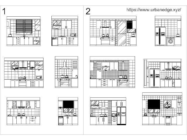 Kitchen detailed dwg autocad cad block drawing - Cabinet and Elevation Design