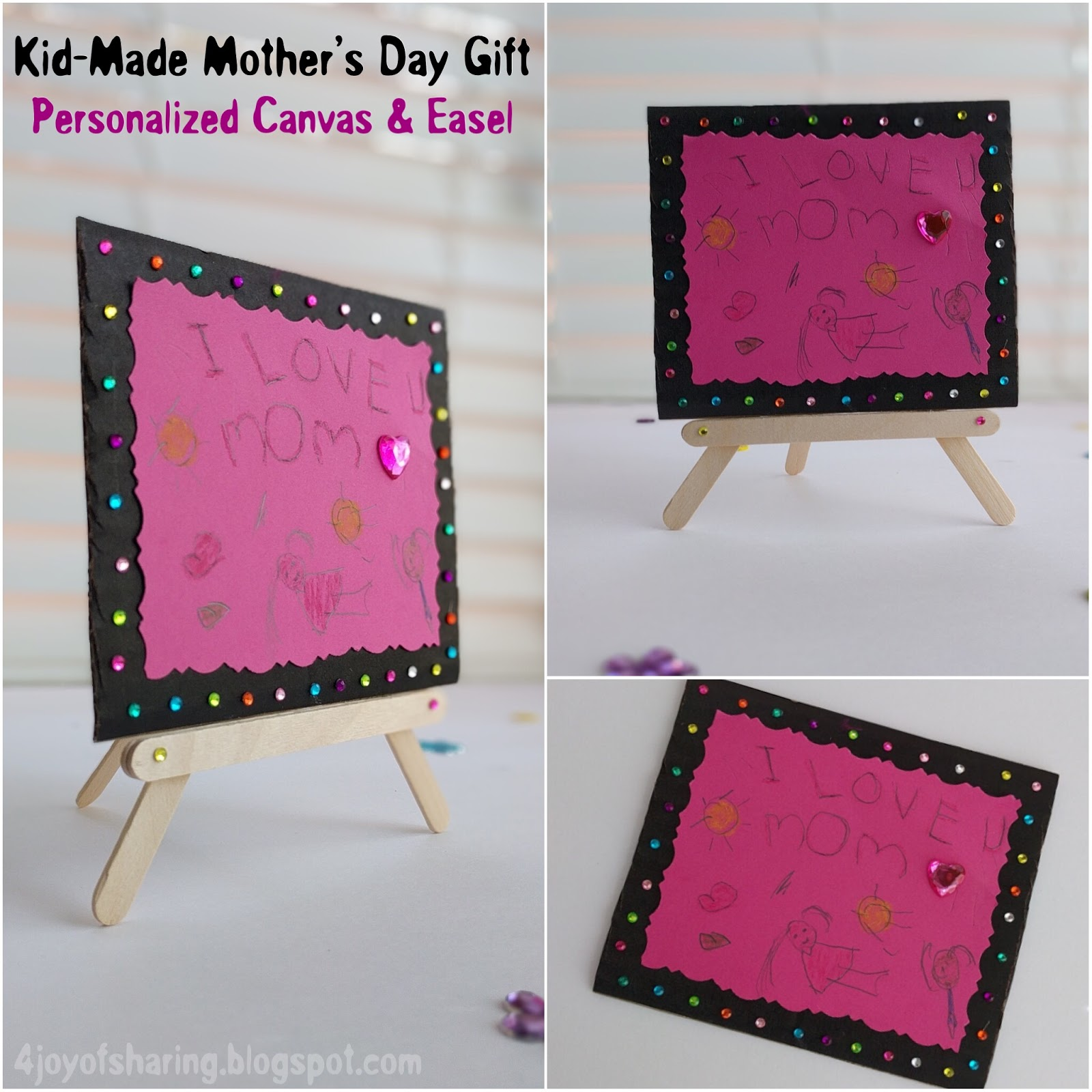 Kid Made Mother S Day Gift Personalized Canvas Easel Craft The