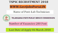 Telangana State Public Service Commission Recruitment 2018 –200 Lab Technician