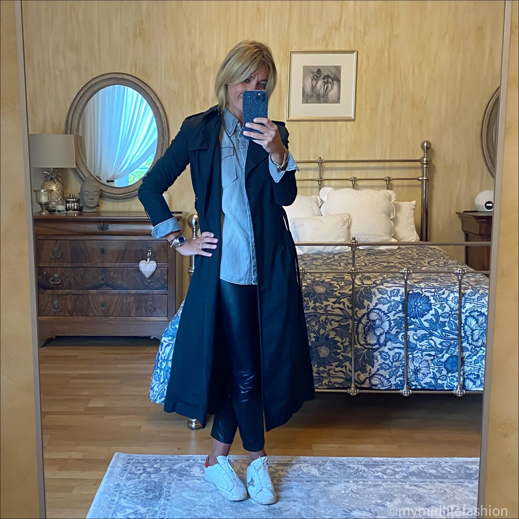 my midlife fashion, Isabel Marant Etoile trench coat, Isabel Marant Etoile denim shirt, Isabel Marant Etoile faux leather trousers, golden goose superstar low top leather trainers