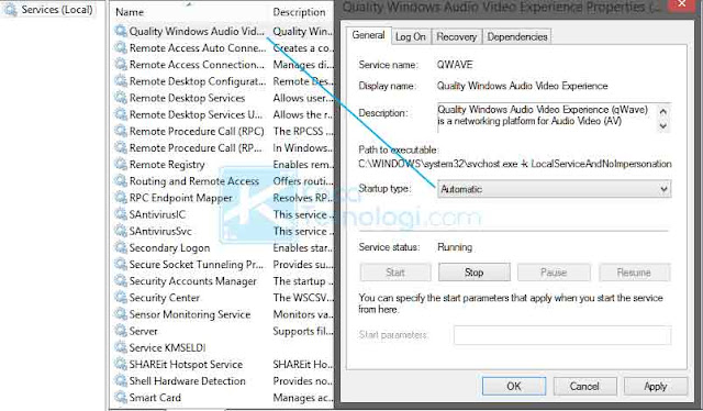 Tekan Windows + R pada keyboard Anda dalam waktu yang sama. Ketikkan services.msc kemudian tekan enter. Gulir ke bawah kemudian klik dua kali pada layanan Quality Windows Audio Video Experience. Ubah Startup Type menjadi Automatic.