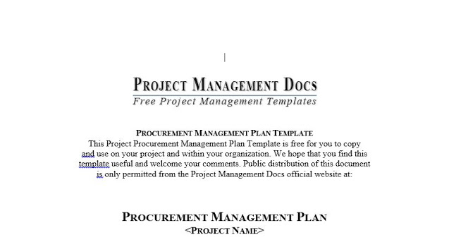 Procurement Management Plan Template in Word