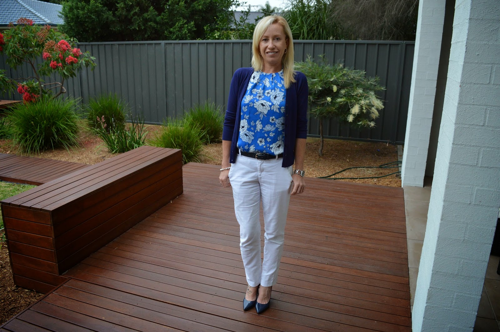 Sydney Fashion Hunter - White Pants, Blue Floral Top, Navy Pumps, Blue Dior Tote, Navy Cardigan