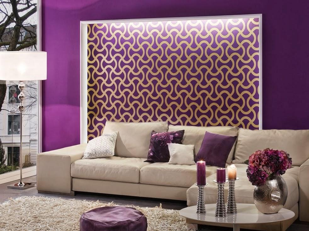 Decoración sala color morado plata