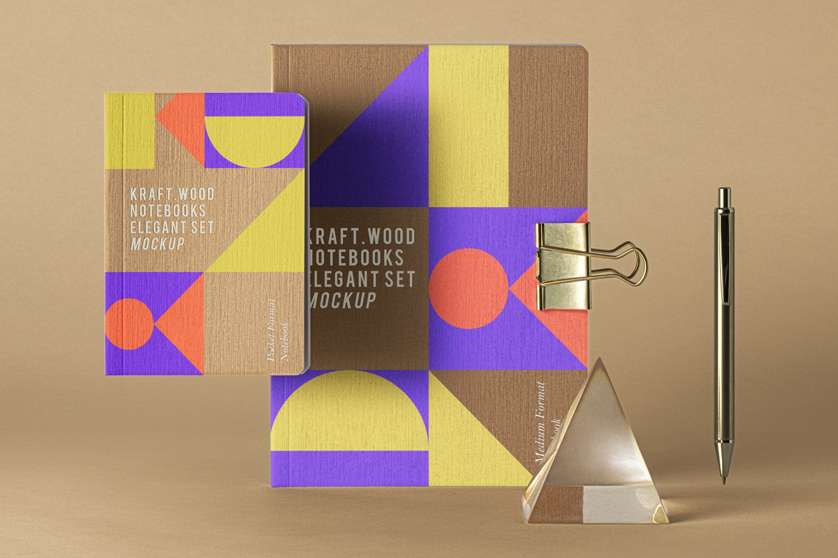 Kraft Paper Notebooks Mockup