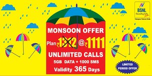 Monsoon Mobile Prepaid Recharge plan validity and tariff details: Plan Cost: 1312 (Available at discount rate of Rs.1111/-) Discount offering: Rs.201/- Plan Validity: 365 days Freebies Validity: 365 days Voice freebies: Unlimited Local/STD Calls to any network in roaming also except Mumbai & Delhi Free Data: 5 GB Data Free SMS: 1000 SMS Extra benefits: Free PRBT with Unlimited song change option Offer period:
