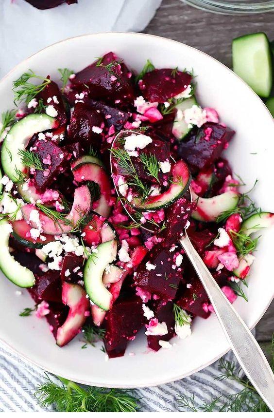 Beet Salad With Feta, Cucumbers, And Dill