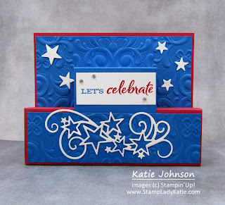 Patriotic red, white and blue card for 4th of July using Stampin Up's Stitched Stars dies