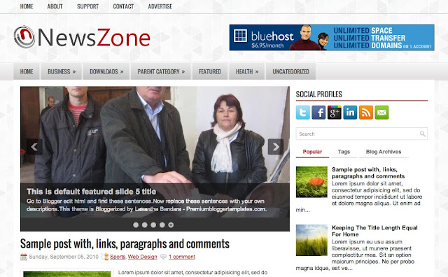 NewsZone - Two Column Blogger Template