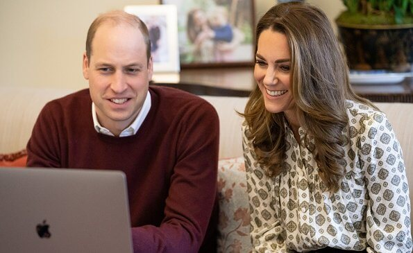Kate Middleton, Duchess of Cambridge wore a new silk-blend jacquard blouse from Michael Kors
