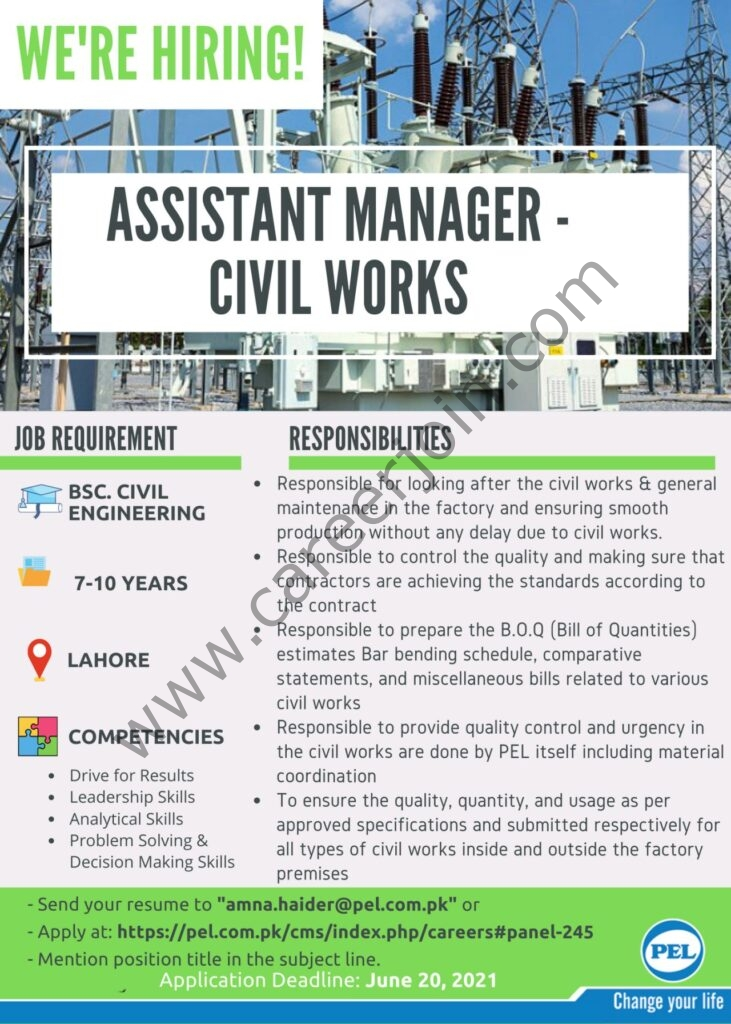 Pak Elektron Ltd Jobs 2021 in Pakistan For Assistant Manager Civil Works - Apply Online via Amana.haider@pel.com.pk