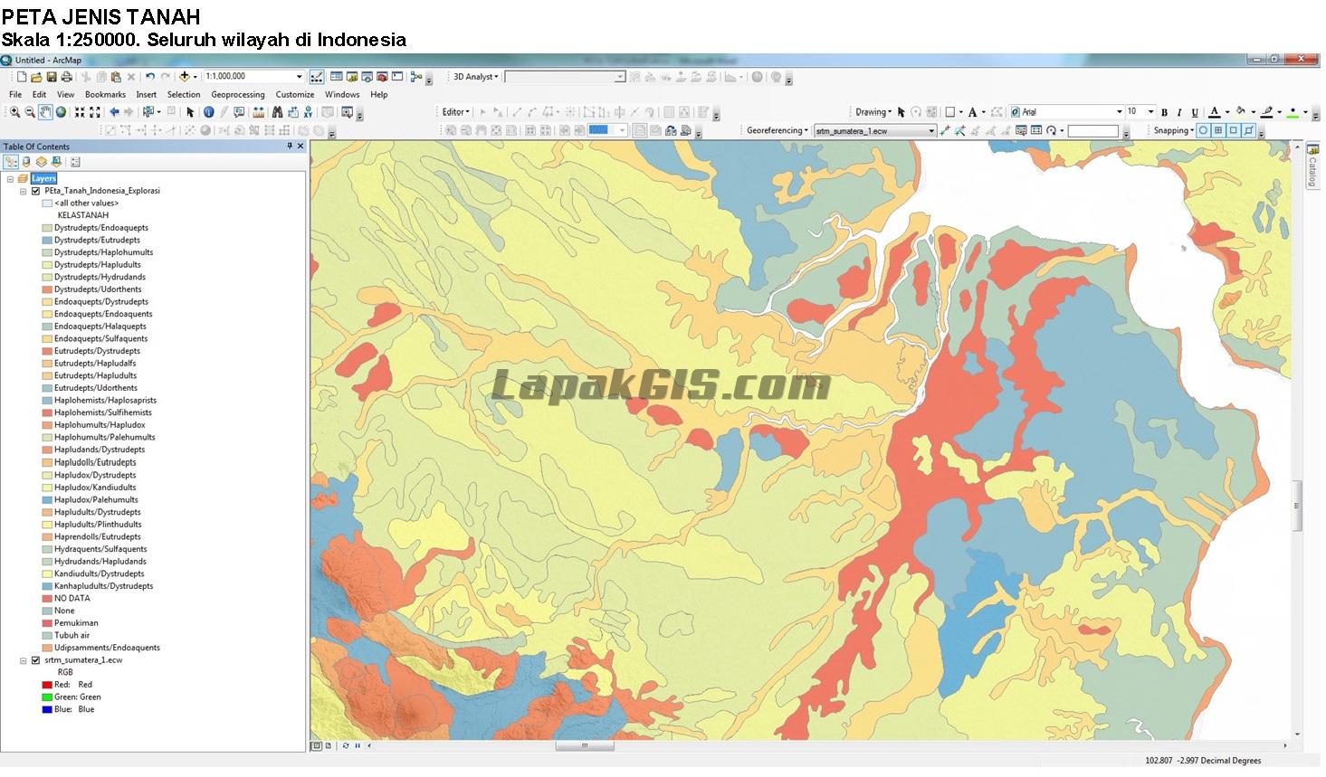 Shapefile Peta Jenis Tanah Seluruh Indonesia