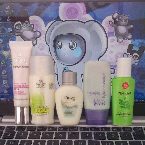 Review (Pelembab) Pixy Radian Finish,Sariayu Pelembab Jeruk, Olay White Radiance, Bless Light Moisturezer, Viva Green Tea