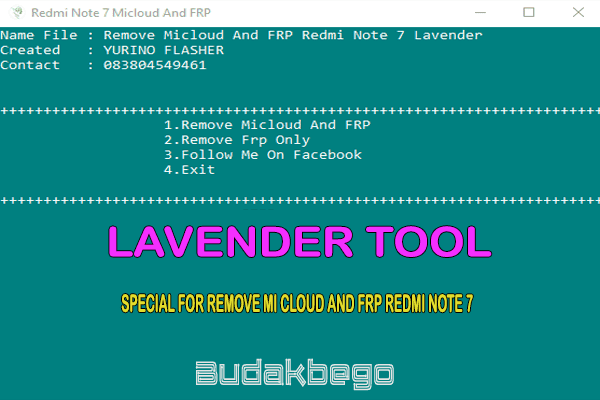 Lavender Tool Special For Remove Mi Cloud and FRP Redmi Note 7