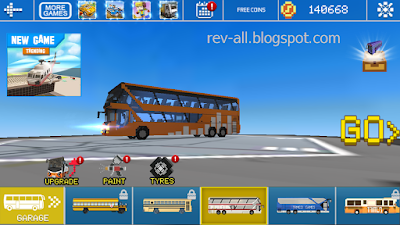 Memilih bus di permainan Mr Blocky city Bus SIM (review oleh rev-all.blogspot.com)