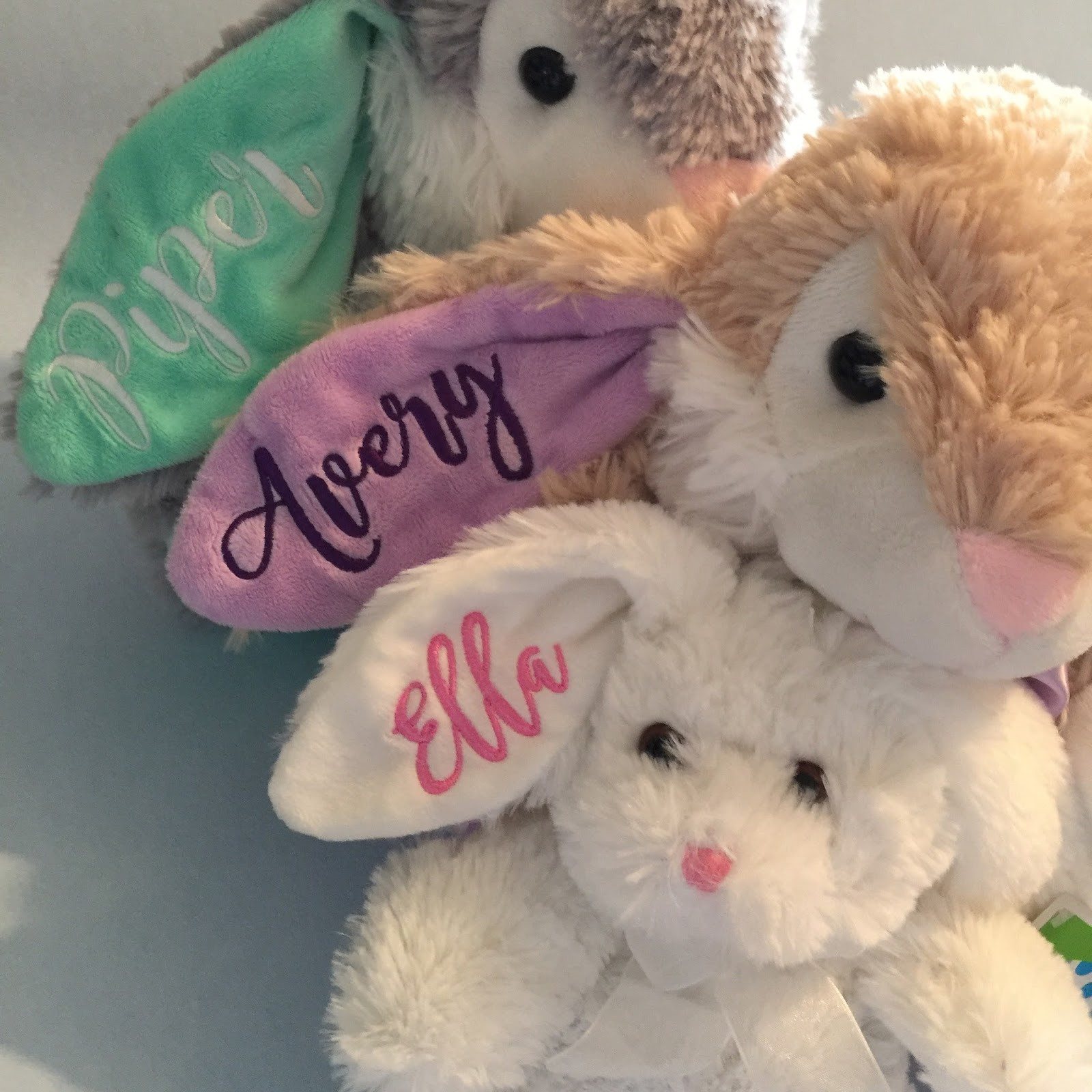 With Glittering Eyes Personalized Embroidered Easter Bunnies Two