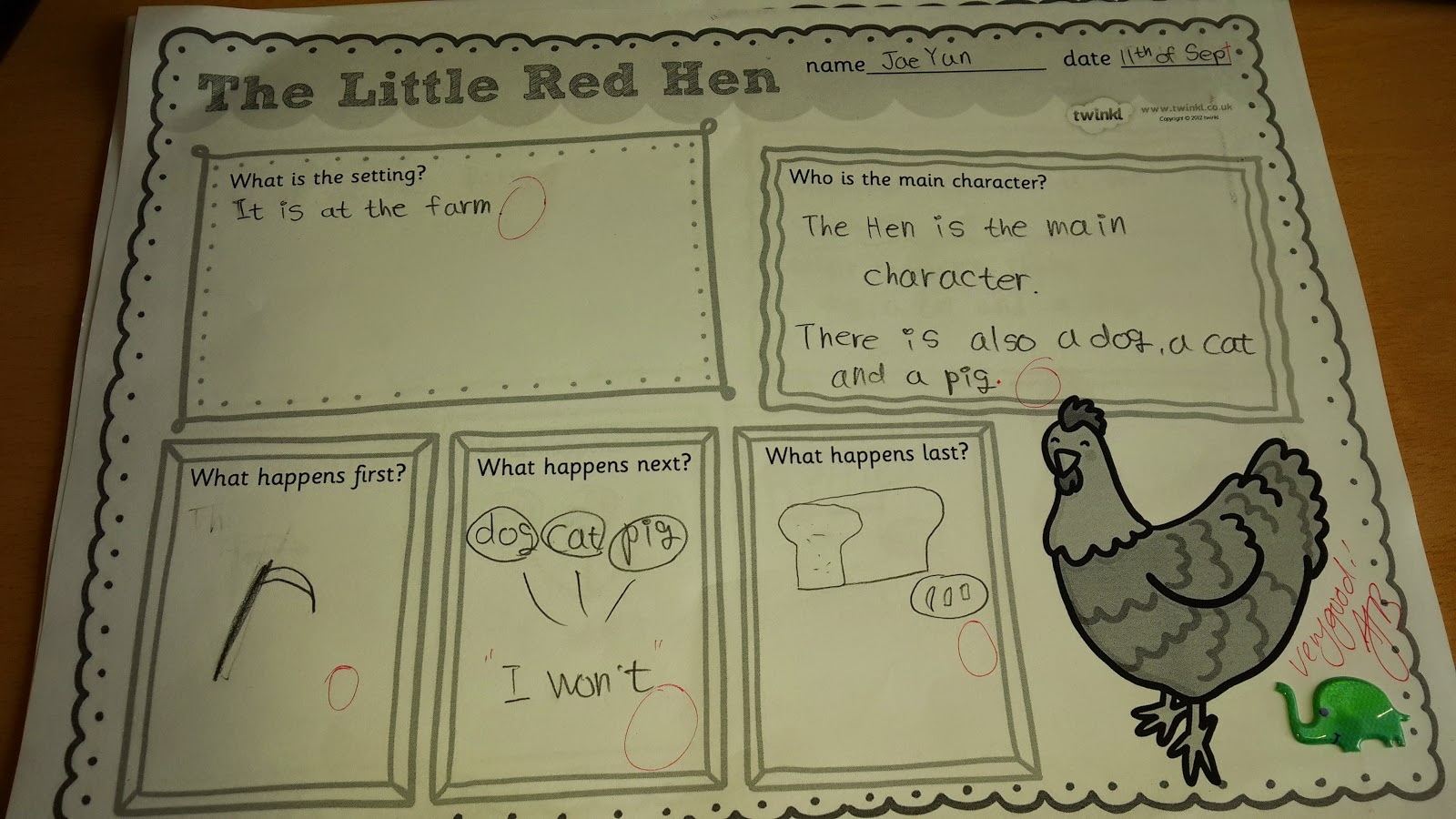 The Little Red Hen Storytime Comprehension And Crafting