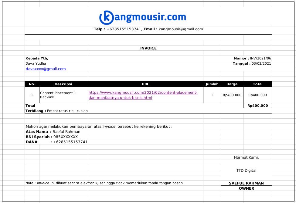 Contoh Invoice Blogger