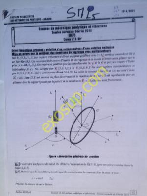 examen corrigé de mécanique analytique et vibrations smp s5 fsa - session normale 2014-15