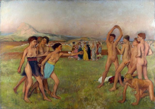 Эдгар Дега - Спартанские девушки вызывают на состязание спартанских мальчиков (1860)