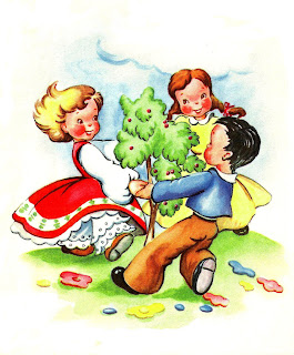 children playing tree flower image illustration