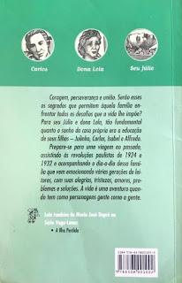 Éramos seis. Maria José Dupré. Editora Ática (São Paulo-SP). Coleção Vaga-Lume. 1999-2009 (40ª e 41ª edição). ISBN: 85-08-00100-2 e 978-85-08-00100-2 (a partir de 2008). Contracapa.