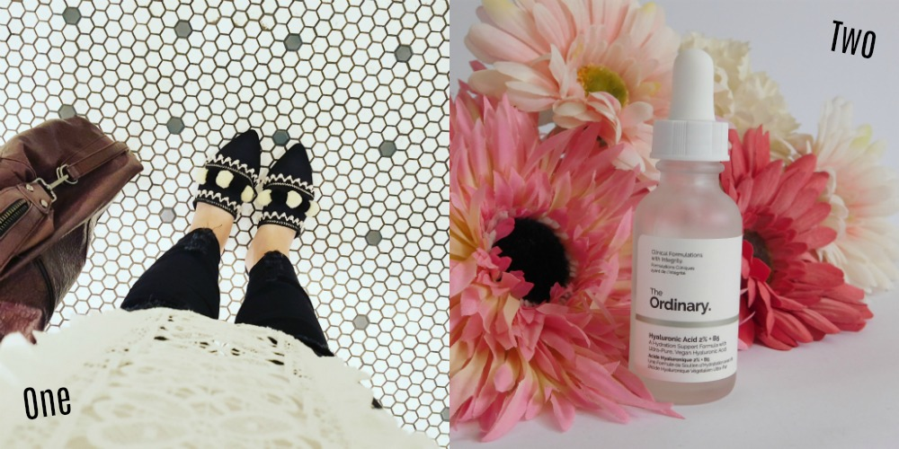 Next Pompom shoes & The Ordinary hyaluronic acid serum