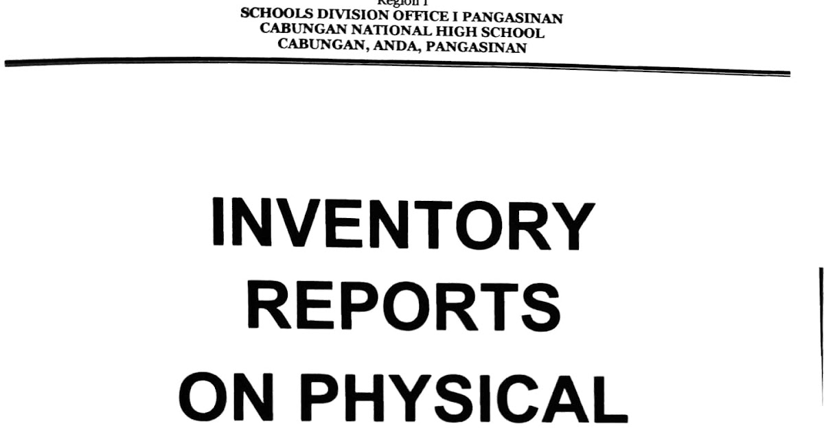 Cabungan National High School: INVENTORY REPORTS ON