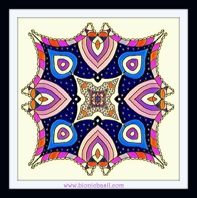 Mandalas on Monday ©BionicBasil® Colouring With Cats Mandala #97 coloured by Cathrine Garnell