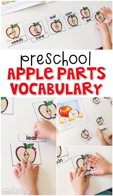Read about the parts of an apple, then use word cards to read and match to each picture. Great for tot school, preschool, or even kindergarten!