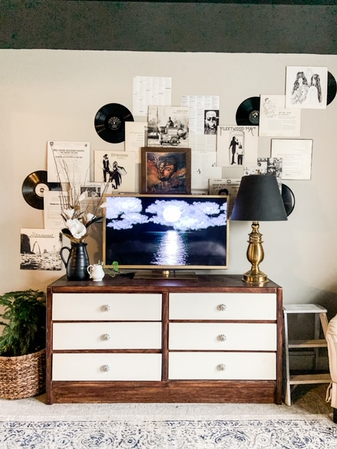 large gallery wall around tv