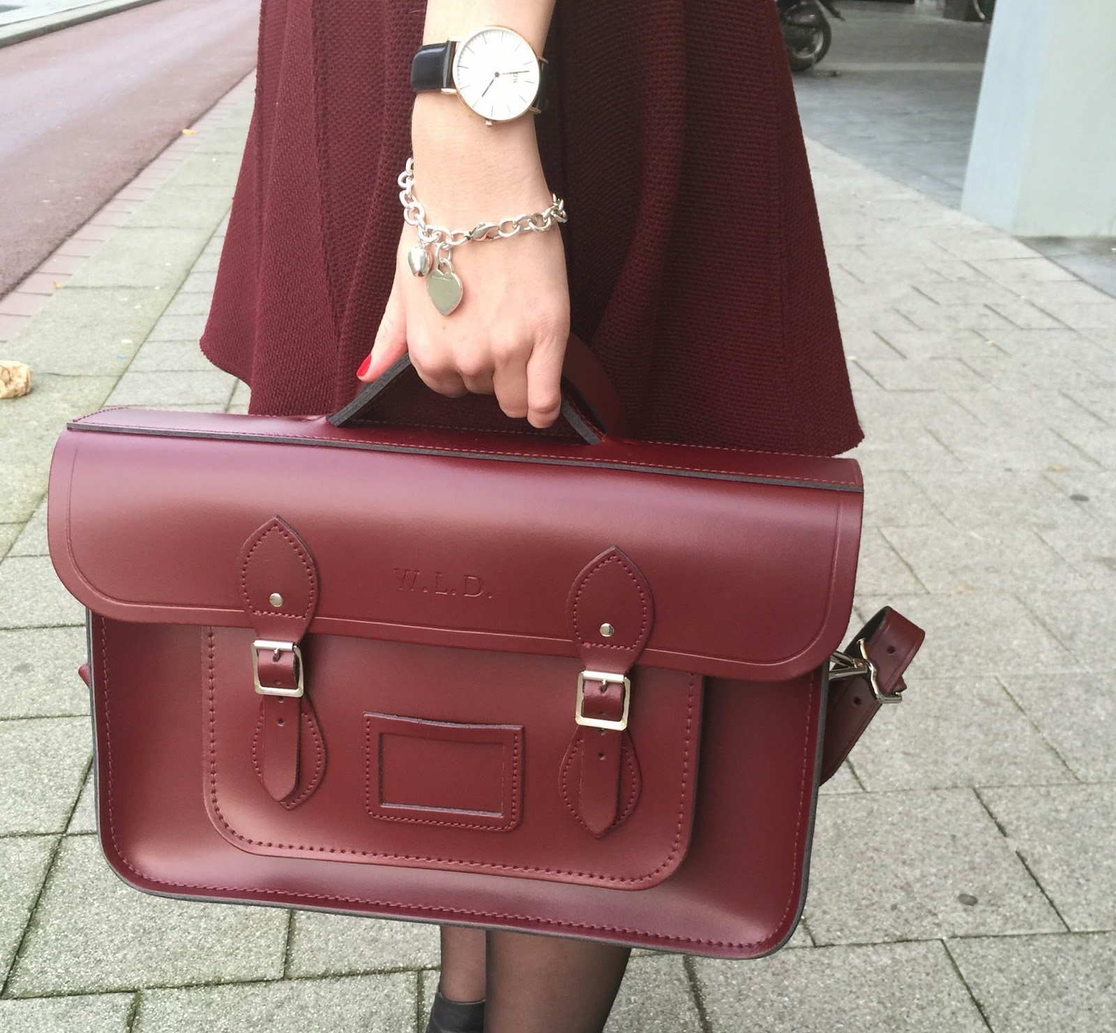 Cambridge Elevating: Bordeaux & Camel Outfit With Oxblood Batchel
