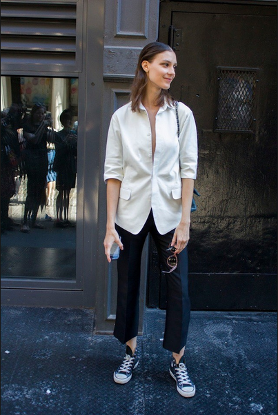converse sneakers and white blazer