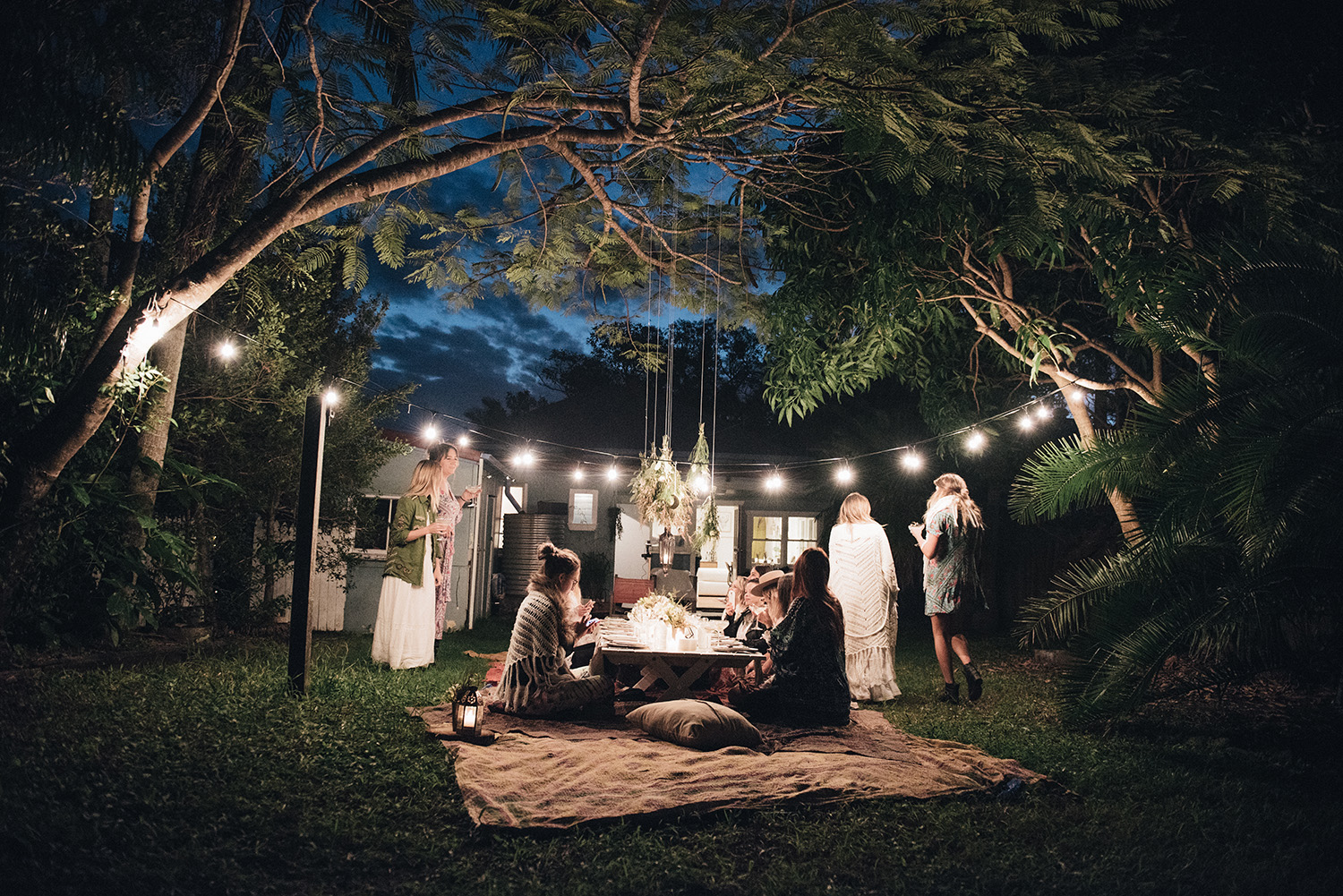 Outside Fairy Lights Moon To Moon Spell How To Host A Bohemian Dinner Party