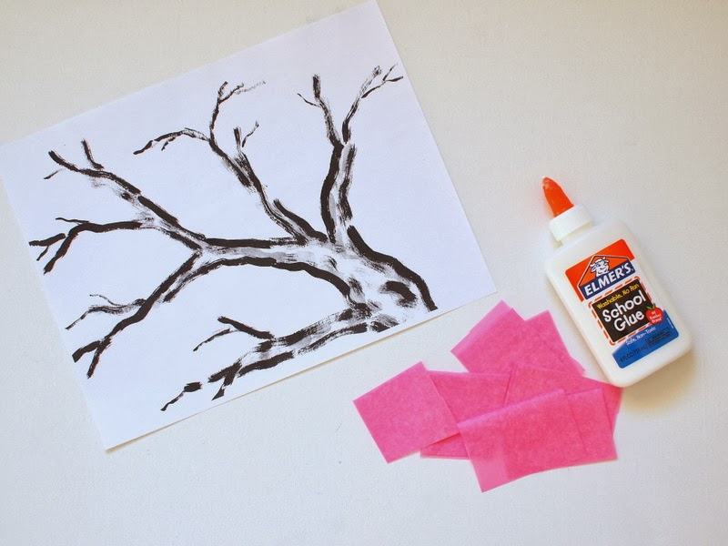 Materials for Tissue paper Cherry blossom tree craft