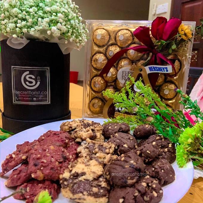 RESEPI COOKIES ALA FAMOUS AMOS - Biskut Coklat Chip, Red Velvet, Dark Chocolate